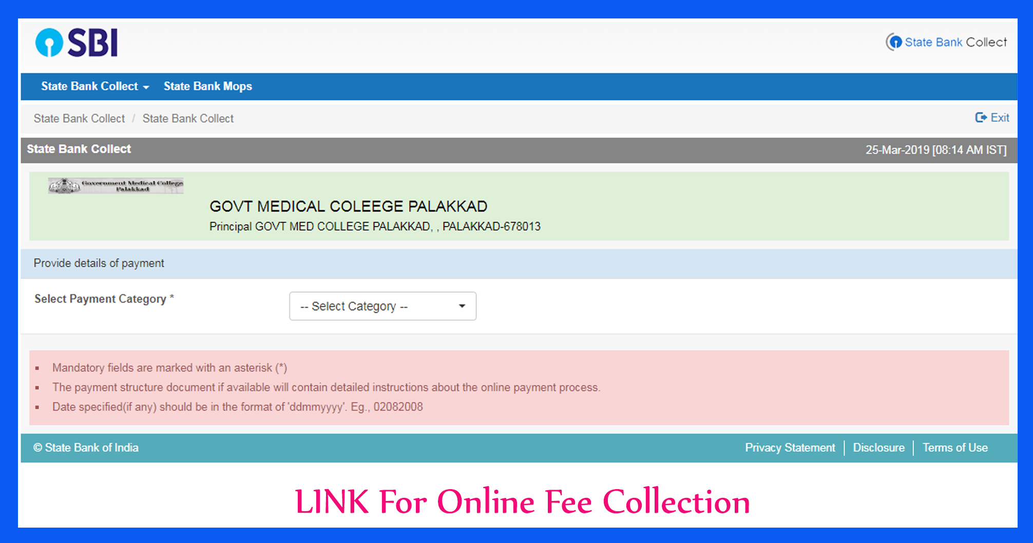 Online Fee Collection Link - SBI